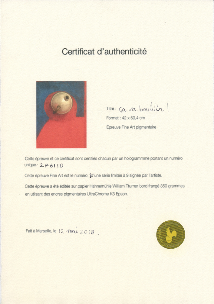 Certificat d'authencité